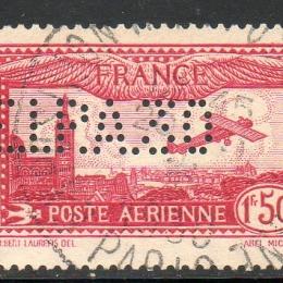 """1930 Francia Posta Aerea: 1,50Fr. carminio perforato """"EIpa 30"""" (N°6B)"""