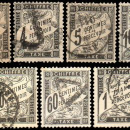 1881 Francia: Francobolli Segnatasse - valori in un cartiglio (N°10/24)