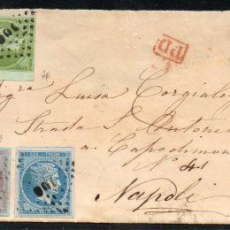 1868 Grecia: 5l. verde chiaro + 20l. azzurro grigiastro + 40l. lilla rosa su azzurro (N°26+28+29)