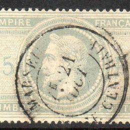 1863 Francia: effigie di Napoleone laureato 5Fr. violetto grigio (N°33)