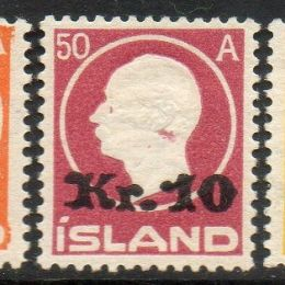 1924 Islanda: soprastampati con nuovo valore (N°110/12)