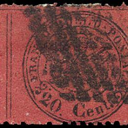 """1868 Pontificio 20c. rosso bruno con """"diversità del punto dopo la cifra"""" (N°27g)"""