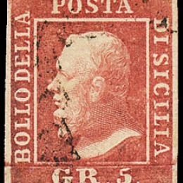 1859 Sicilia 5gr. carminio Ia tavola (N°9a)