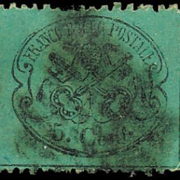 1868 Pontificio 5c. azzurro verdastro (N°25b)