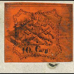 1867 Pontificio 10c. vermiglio arancio (N°17)