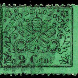 1868 Pontificio 2c. verde chiaro (N°22)