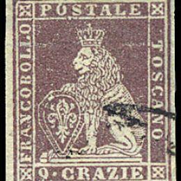 1851 Toscana 9cr. bruno violaceo su grigio (N°8)