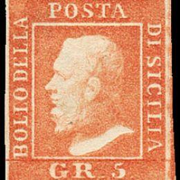 1859 Sicilia 5 gr. vermiglio chiaro, Ia tavola (N°10)