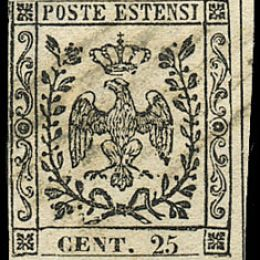 1852 Modena 25c. camoscio chiaro (N°4)