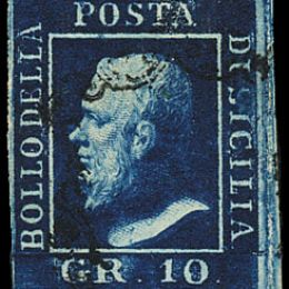 1859 Sicilia 10 gr. azzurro cupo (N°12)
