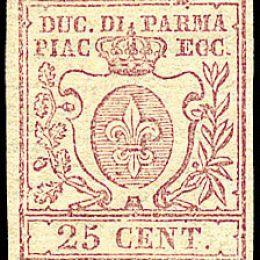 1857 Parma 25c. bruno lilla (N°10)