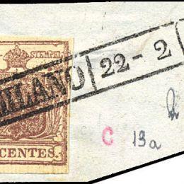 1851 Lombardo Veneto 30c. bruno rossastro I° tipo (N°16)