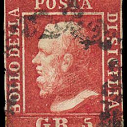 1859 Sicilia 5 gr. rosa carminio Ia tavola (N°9)