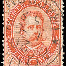 1879 Italia Regno L.2 vermiglio (N°43)