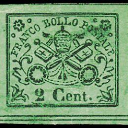 1867 - Pontificio 2c. verde giallo (N°13).