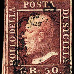1859 Sicilia 50gr. lacca bruno (N°14)