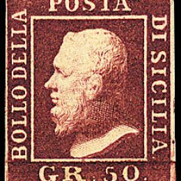 1859 Sicilia 50 gr. lacca bruno (N°14)