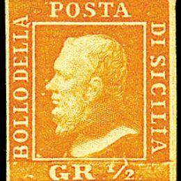 1859 Sicilia ½ gr. arancio prima tavola, carta di Palermo (N°1)