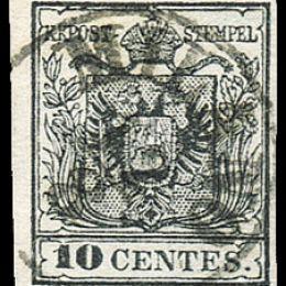 1857 Lombardo Veneto 10c. nero (N°19)