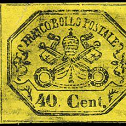 1867 Pontificio 40c. giallo (N°19)