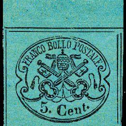 1867 Pontificio 5c. azzurro verdastro (N°16)