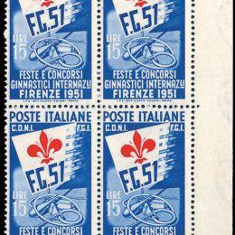 1951 Italia Repubblica: Ginnici (N°661/63) s. cpl. in blocchi di quattro.
