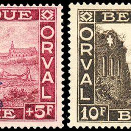 """1929 Belgio: Abbazia di Orval soprastampati con """"£ incoronata"""" (N°272A/K) s. cpl."""