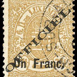 """1875 Lussemburgo: Servizi - stemma 1Fr. su 37 ½ bistro con soprastampa """"OFFICIEL"""" del tipo """"A"""" (N°17A)"""