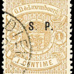"""1881 Lussemburgo: Servizi - stemma 1c. bruno chiaro con soprastampa """"S.P."""" del tipo """"C"""" (N°32)"""