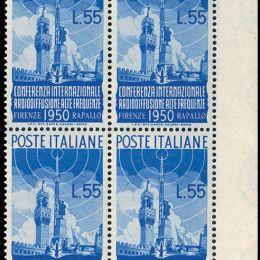 1950 Italia Repubblica: Radiodiffusione (N°623/24) s. cpl. in blocchi di quattro.