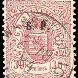 """1881 Lussemburgo: Servizi - stemma 30c. rosa carminio con soprastampa """"S.P."""" del tipo """"C"""" (N°43)"""