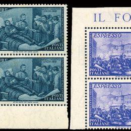 1948 Italia Repubblica: Risorgimento (N°580/91+Ex 32) s. cpl. in blocchi di quattro.
