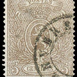 1866 Belgio: 5c. bruno grigio dent. 15 (N°25)