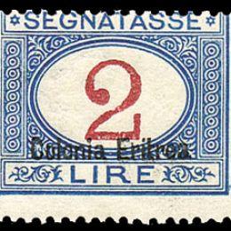 """1903 Colonie Italiane """"Eritrea: Segnatasse soprastampati """"Colonia Eritrea"""" in basso (N°14/24) s. cpl."""