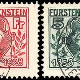 1928 Liechtenstein: Principe Giovanni II (N°82/89) s. cpl.
