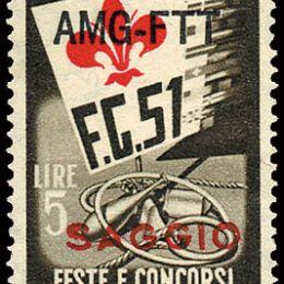 """1951 Trieste """"A"""": Ginnici L.5 (N°116) soprastampato """"SAGGIO"""" in rosso."""