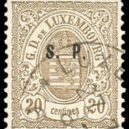 """1881 Lussemburgo: Servizi - stemma 20c. bistro oliva con soprastampa """"S.P."""" del tipo """"C"""" (N°41)"""