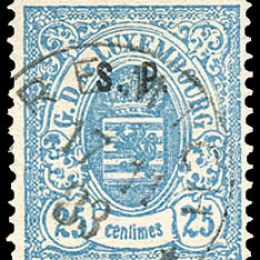 """1881 Lussemburgo: Servizi - stemma 25c. azzurro con soprastampa """"S.P."""" del tipo """"C"""" (N°42)"""