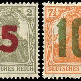 "1941 Occup. Ted. Polonia: francobolli di Germania tipo ""Allegoria"" soprastampati 5g. su 2p. grigio + 10g. su 7½ p. arancio (N°61/62) s. cpl."