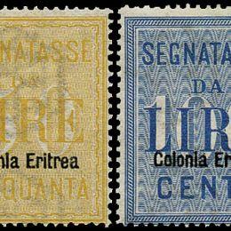 """1903 Colonie Italiane """"Eritrea: Segnatasse soprastampati (N°12/13) s. cpl."""