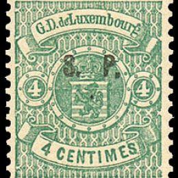 """1881 Lussemburgo: Servizi - stemma 4c. verde con soprastampa """"S.P."""" del tipo """"C"""" (N°33)"""