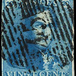 1849 Belgio: effigie di Leopoldo I 20c. azzurro (N°2).