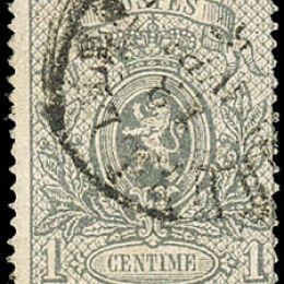 1866 Belgio: 1c. grigio dent. 15 (N°23)