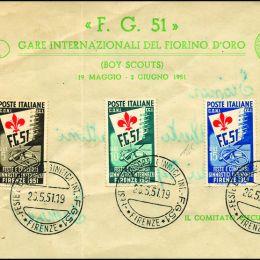 1951 Italia Repubblica: Ginnici (N°661/63) s. cpl. con l'annullo speciale della manifestazione.