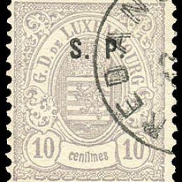 """1881 Lussemburgo: Servizi - stemma 10c. grigio violetto con soprastampa """"S.P."""" del tipo """"C"""" (N°39)"""