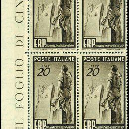 1949 Italia Repubblica: ERP (N°601/03) s. cpl, in blocchi di quattro.