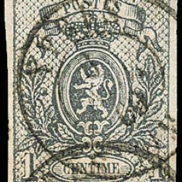 1866 Belgio:  stemma 1c. grigio (N°22).