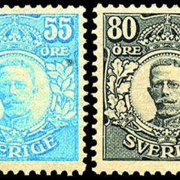 "1917 Svezia:  Effigie di Re Gustavo V, cosiddetta ""emissione di Värnamo"" 55ö azzurro verde + 80ö nero (N°101+103)"