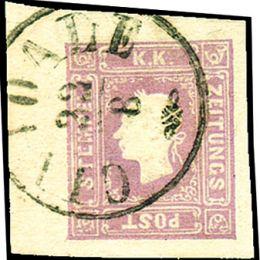 1859 Lombardo Veneto: Francobolli per giornali - 1,05s. lilla grigio (N°9)