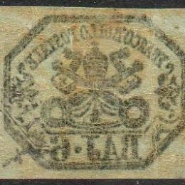 1852 Pontificio: stemma 6b. grigio perla (N°7Aa)